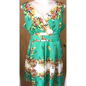 Floral fit n flare tie waist dress